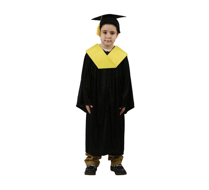 Disfraz de Licenciado o Graduado amarillo para niños de 5 a 6 años. Incluye sombrero, toga y beca.
