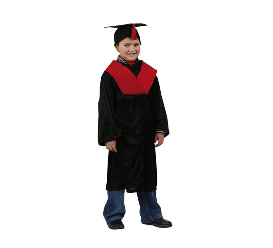 Disfraz de Licenciado o Graduado rojo para niños de 7 a 9 años. Incluye sombrero, toga y beca.