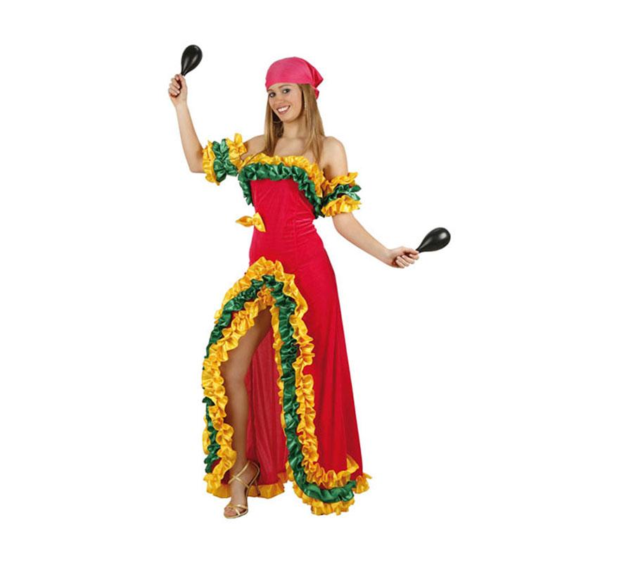 Disfraz de Brasileña Rosa para chicas delgadas talla 1 ó talla S = 34/38 y para adolescentes. Incluye vestido y pañuelo. Maracas NO incluidas, podrás encontrar maracas en la sección de Complementos.