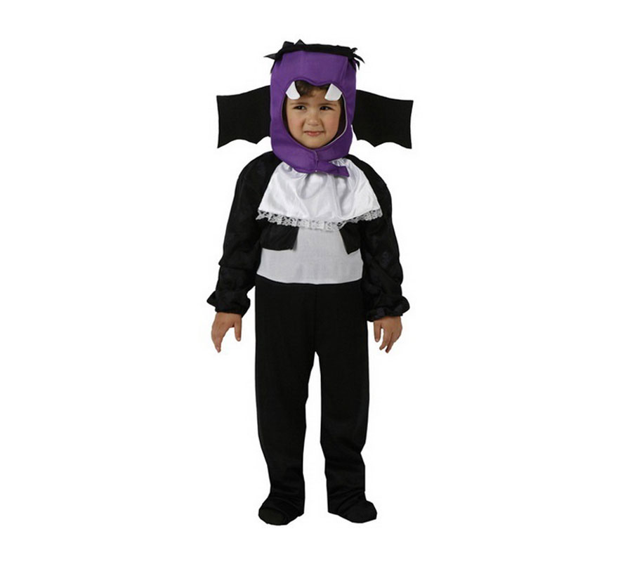 Disfraz de Vampiro negro y lila para niño. Talla de 3 a 4 años. Incluye mono y gorro. Disfraz de Murciélago infantil.