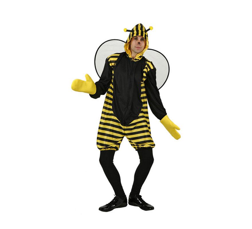 Disfraz de Abeja para hombre. Talla 3 ó talla XL = 54/58. Incluye mono con capucha, alas y guantes. Medias y zapatos NO Incluidos.