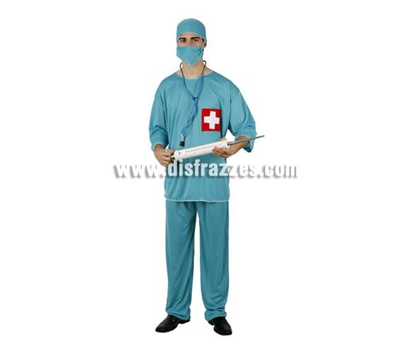 Disfraz de Cirujano adulto. Talla Standar M-L = 52/54. Inlcuye pantalón, camisa, mascarilla y gorro. Complementos NO incluidos, podrás verlos en la sección Complementos.