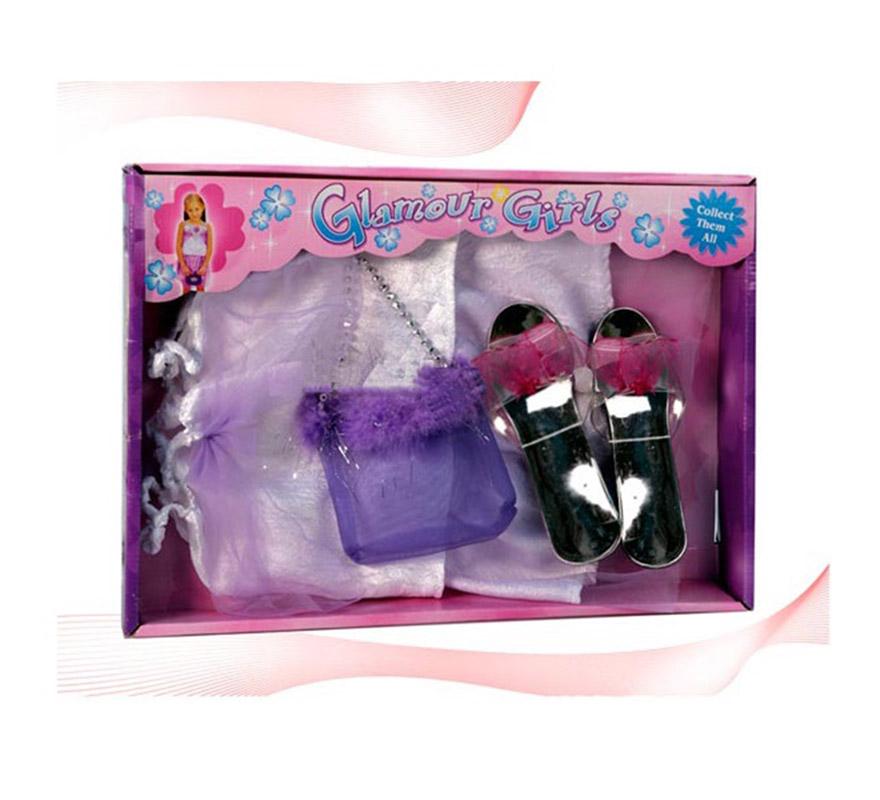 Set Princesas. Incluye vestido, zapatos y bolso. Para niñas de 3 a 5 años.