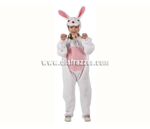Disfraz barato de Conejito blanco para niñas de 3-4 años. Incluye mono y capucha.