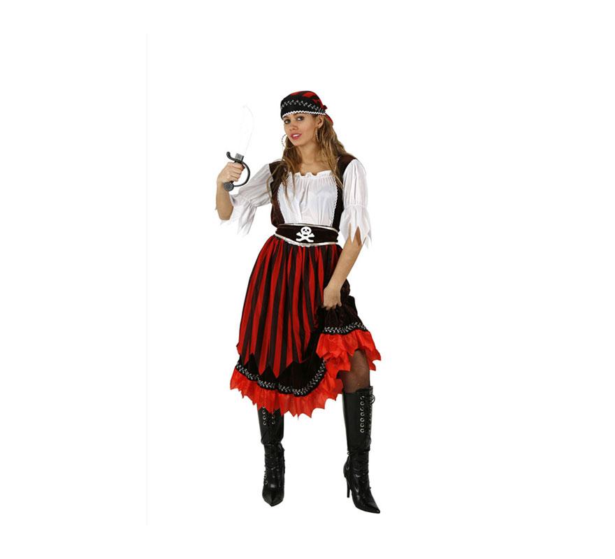 Disfraz de Pirata de Rayas para mujer. Talla 2 ó talla standar M-L 38/42. Incluye vestido, cinturón y pañuelo. Espada NO incluida, podrás encontrar en nuestra sección de Complementos.
