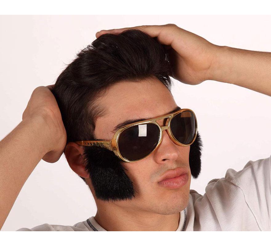 Gafas doradas de Rockero con patillas negras. Gafas para el disfraz de Elvis.