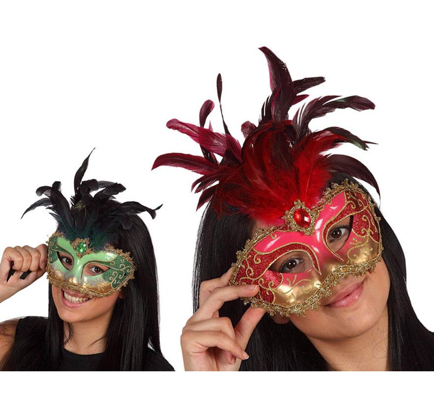 Máscara Veneciana con plumas. Talla Universal. Dos modelos surtidos, precio por unidad, se venden por separado.