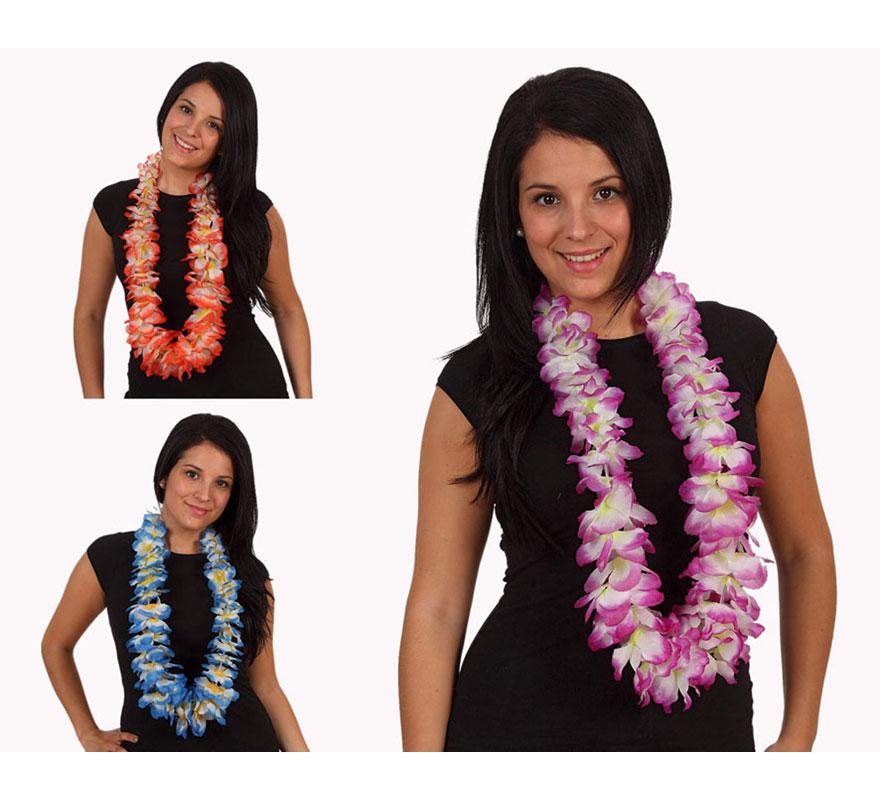 Collar Hawaiano flores de tela. Tres colores surtidos. Precio por unidad, se venden por separado.