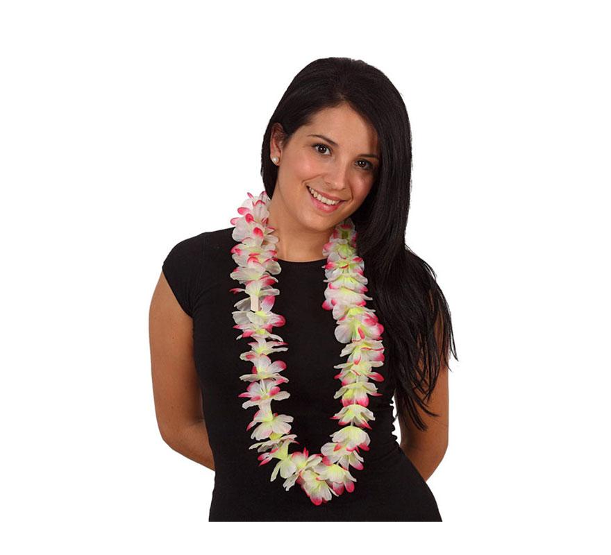 Collar Hawaiano flores amarillo y rosa de tela.