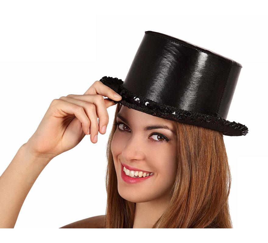 Sombrero de copa o Chistera con Lentejuelas negra.