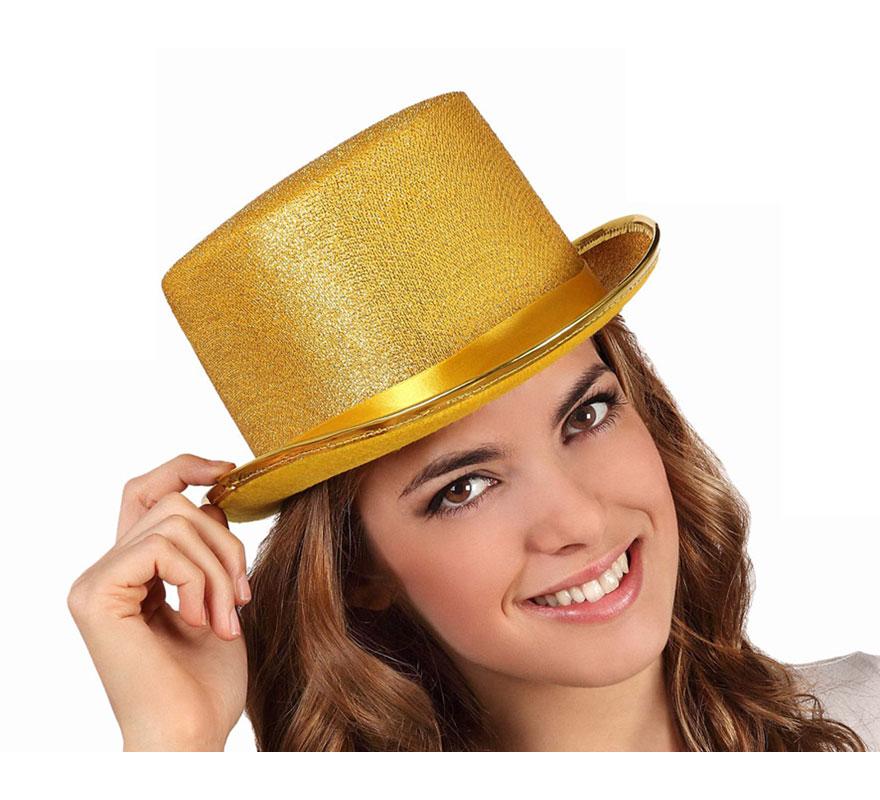 Sombrero de copa o Chistera dorada brillante
