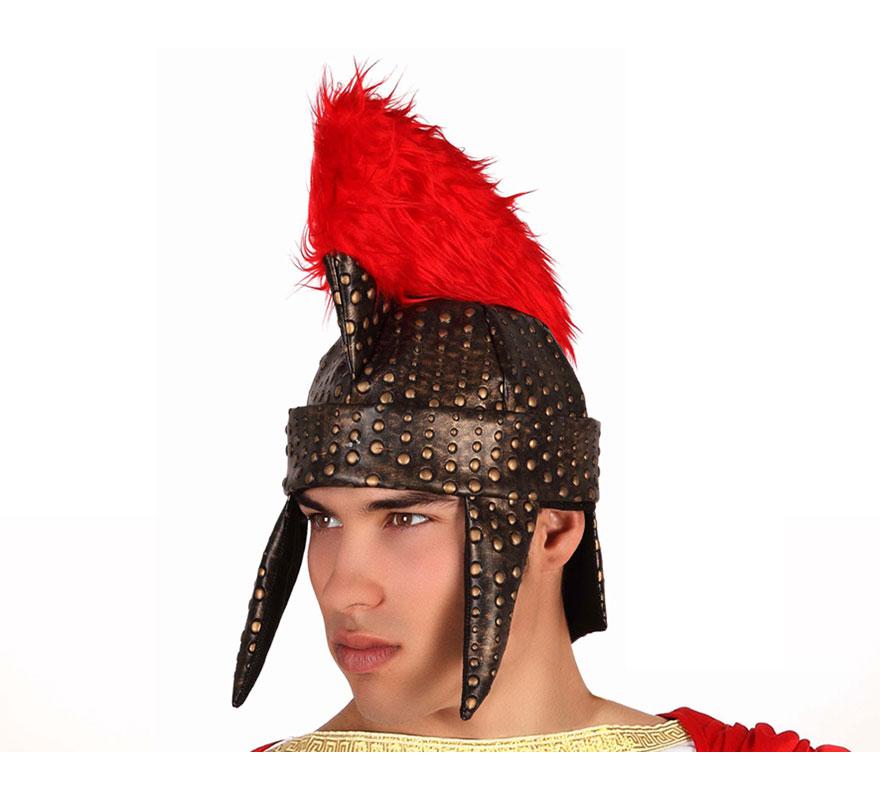Casco de Romano con cresta roja de tela, imitación a cuero. Perfecto para los disfraces de Espartano, Centurión Romano, etc.