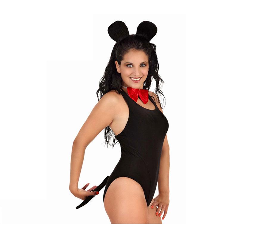 Complemento Ratón de 33x23 cm. Incluye diadema, pajarita y rabo. Ideal para disfrazarse de Mickey.