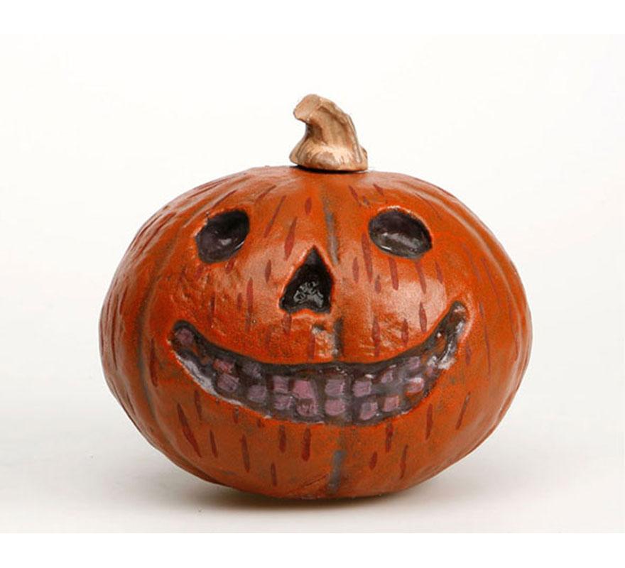 Calabaza Halloween sonriente de 22 cm. perfecta para decorar cualquier ambiente en Halloween.