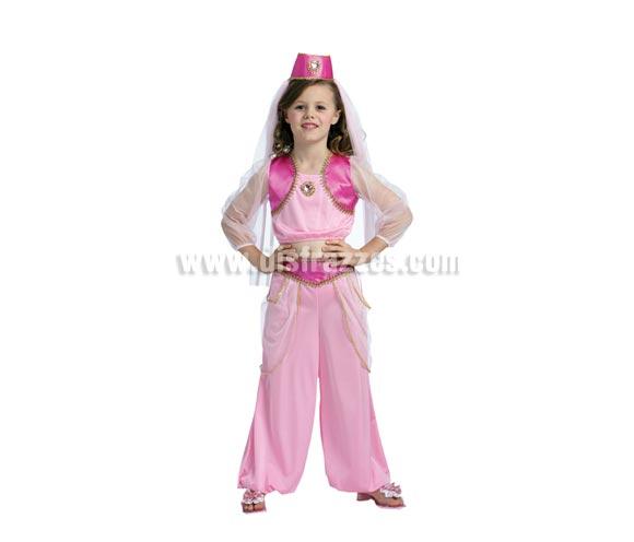 Disfraz de Princesa Árabe niña talla de 5 a 6 años. Incluye top, pantalones y gorro con velo.