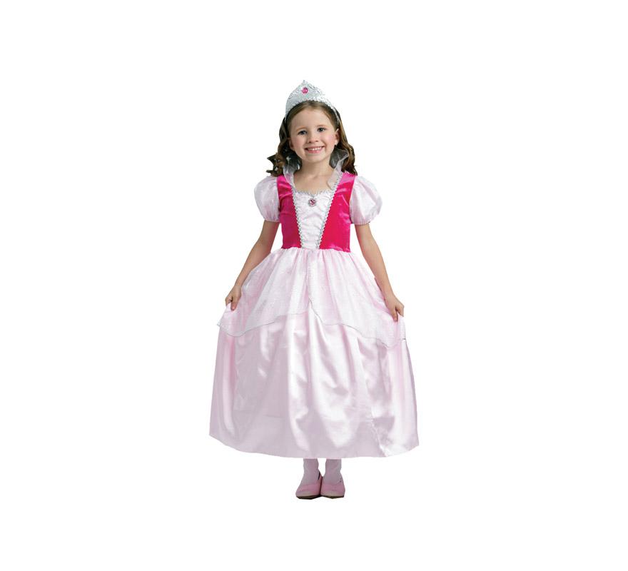 Disfraz de Princesa Rosa niña talla de 7 a 9 años. Incluye vestido y tiara.