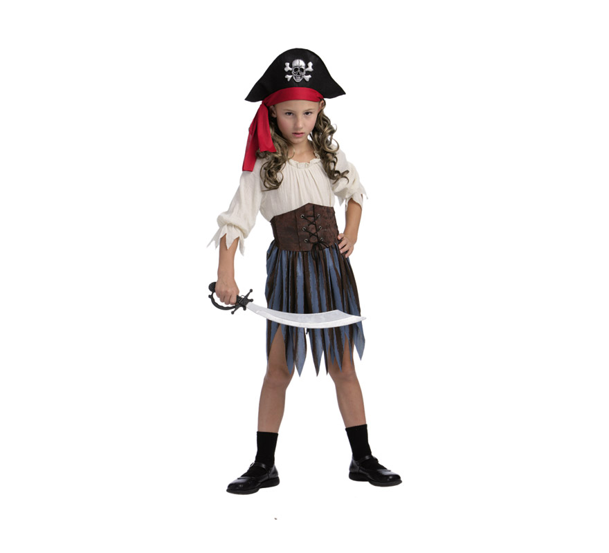 Disfraz de Pirata del Caribe niña talla de 5 a 6 años. Incluye vestido, corpiño, cubrebotas y sombrero. Espada no incluida, podrás verla en la sección Complementos.