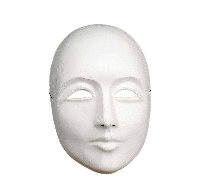Máscara Blanca para teatro seria de cartón, ideal para decorar. Talla universal. También sirve como máscara Veneciana.