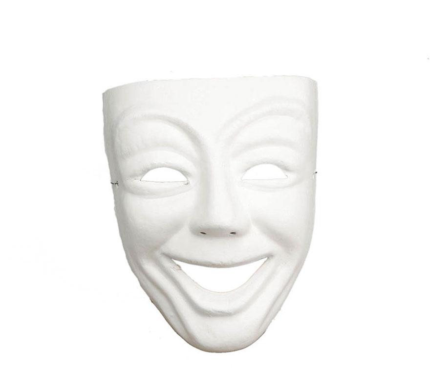 Máscara Blanca teatro risa de cartón ideal para decorar. Talla universal. También sirve como máscara Veneciana. Máscara o Careta de la Comedia.