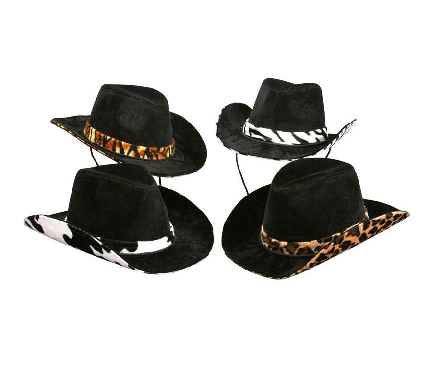 Sombrero de Vaquero o Pistolero con cinta piel de animales. Disponible en 4 modelos surtidos, precio por unidad, se venden por separado.
