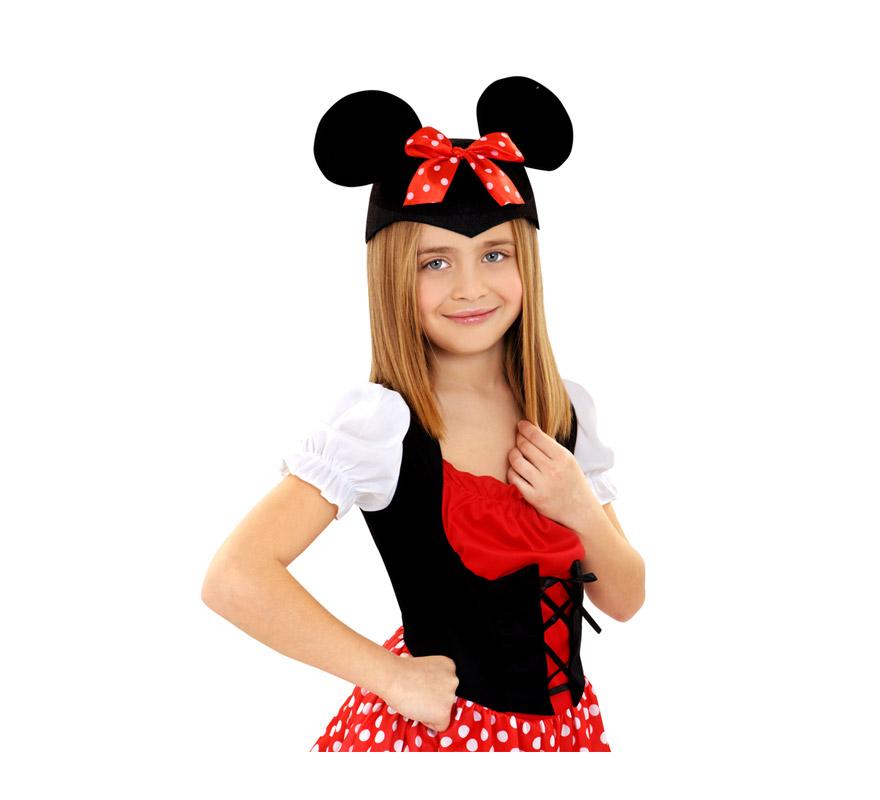 Gorro con orejas de Ratoncita Minnie Mouse para Carnaval. Sirben tanto para niñas, como para adultas.