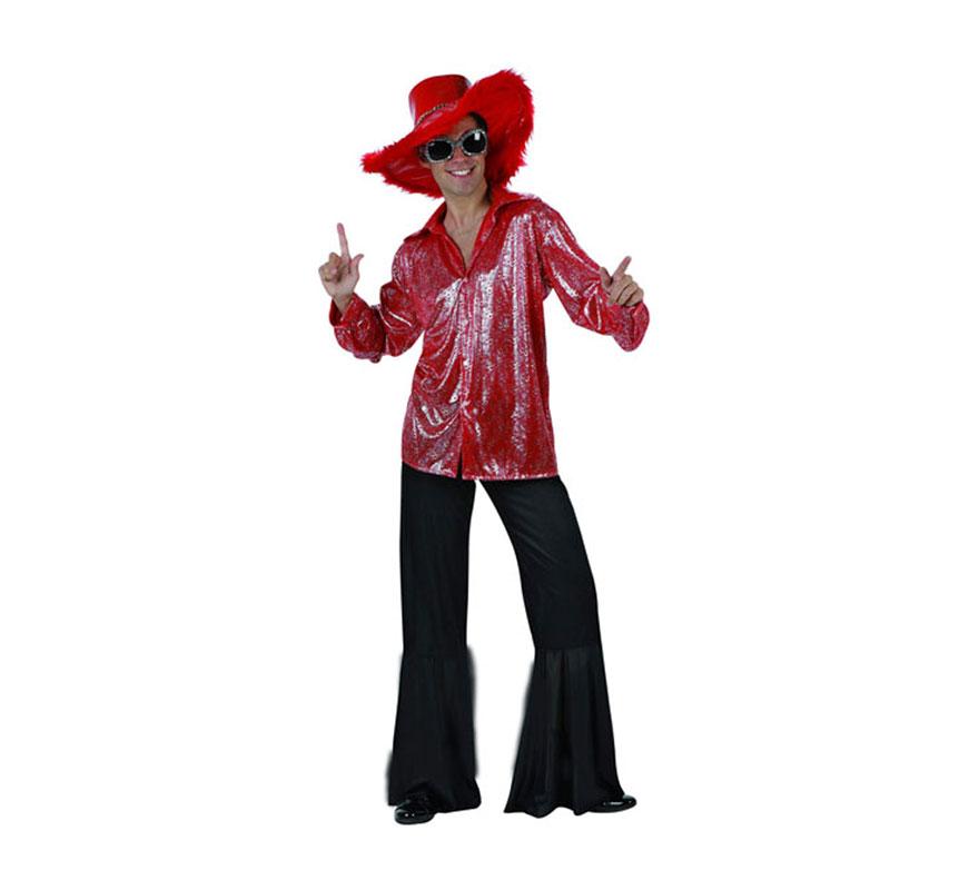 Disfraz de Disco Man Brillo rojo para hombre. Talla 2 ó talla M-L 52/54. Incluye pantalón y camisa. Sombrero y gafas NO incluidos, podrás encontrar en la sección de Complementos.