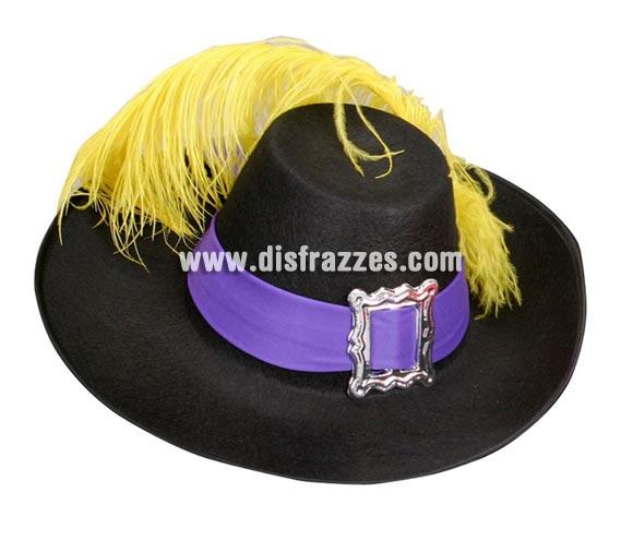 Sombrero de Mosquetero niño con pluma color negro. Sombrero de Dartacan.