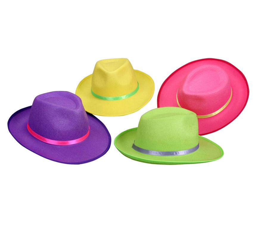 Sombrero de Ganster fosforescente 4 colores surtidos. Precio por unidad., se venden por separado.