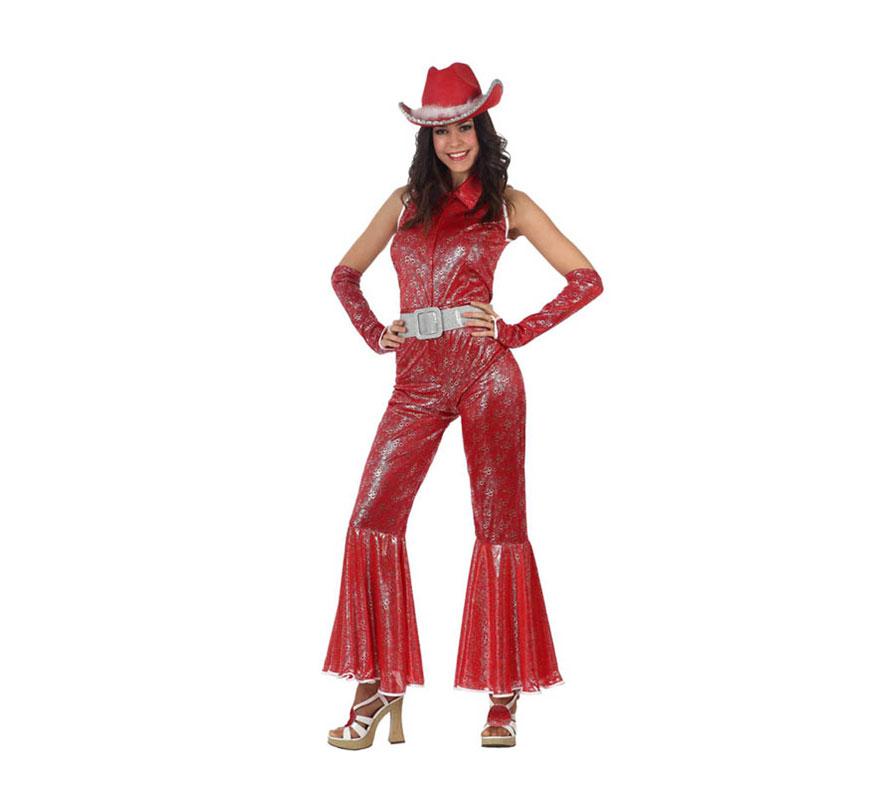 Disfraz de Disco Woman Brillo rojo para mujer. Talla 3 ó talla XL 44/48. Incluye mono y mangas. Sombrero y zapatos No incluidos, el sombrero podrás verlo en la sección de Complemetos. Perfecto para disfrazarse de Abba.