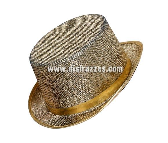 Sombrero de copa brillante color Oro. Chistera brillante dorada.