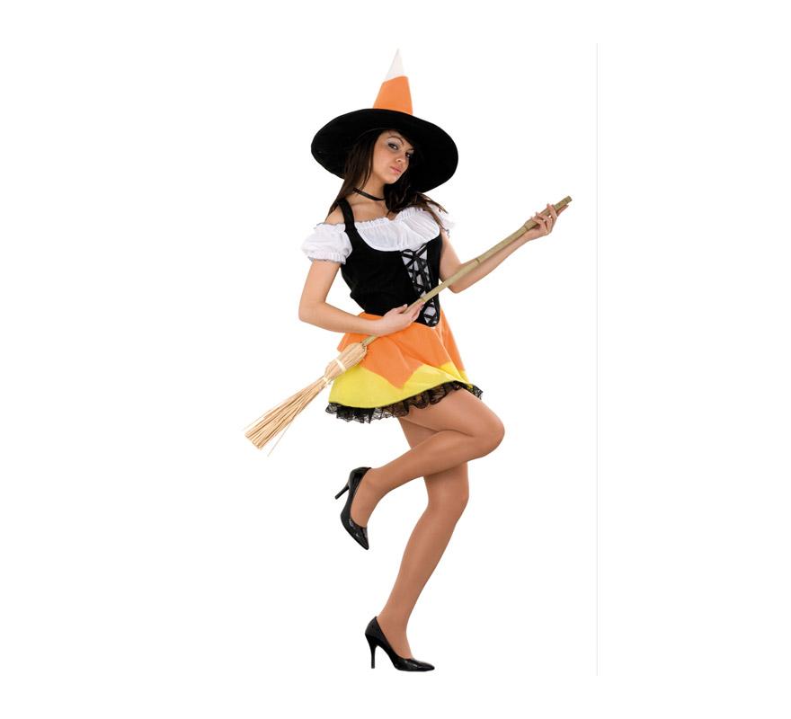 Disfraz de Bruja Sexy corto adulta para Halloween barato. Talla estándar M-L = 38/42. Incluye vestido y sombrero. Escoba NO incluida, podrás verla en la sección Complementos.