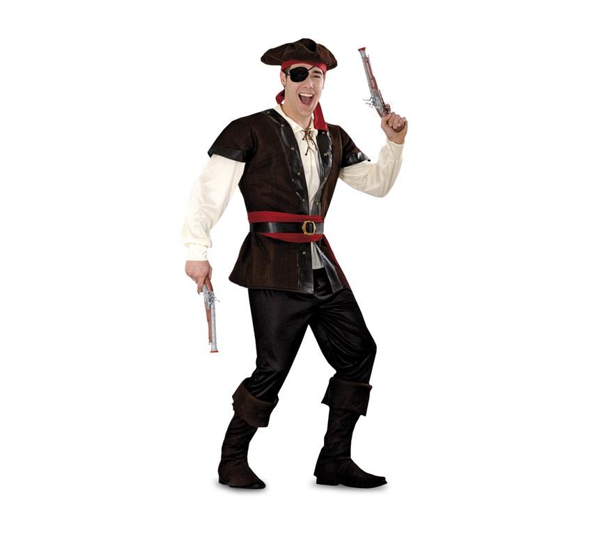 Disfraz de Bucanero para hombre. Talla standar M-L =  52/54. Incluye sombrero con pañuelo, camisa, chaleco, cinturones, pantalón y cubrebotas. Parche y pistolas NO incluidos, podrás verlos en la sección Comlementos.