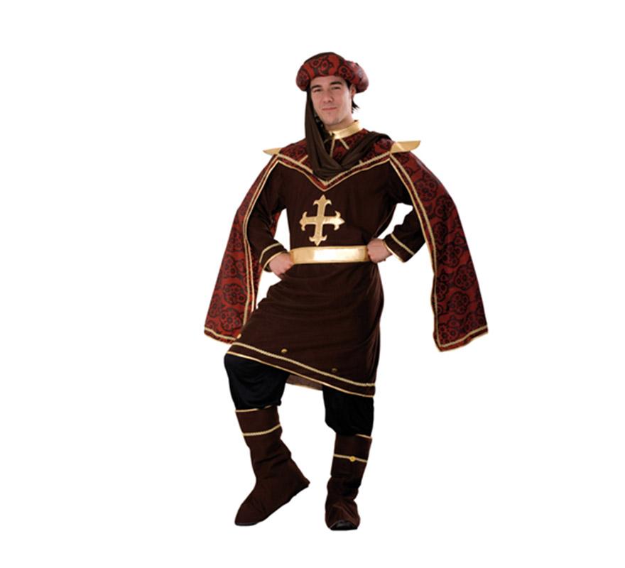 Disfraz de Cortesano para hombre. Talla Standar M-L 52/54. Incluye gorro, casaca, cinturón, pantalón y cubrebotas. Excelente traje para Ferias Medievales.