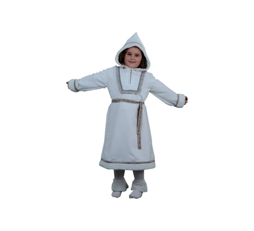 Disfraz de Esquimal niña talla de 7 a 9 años. Incluye vestido, cinturón y calentadores.
