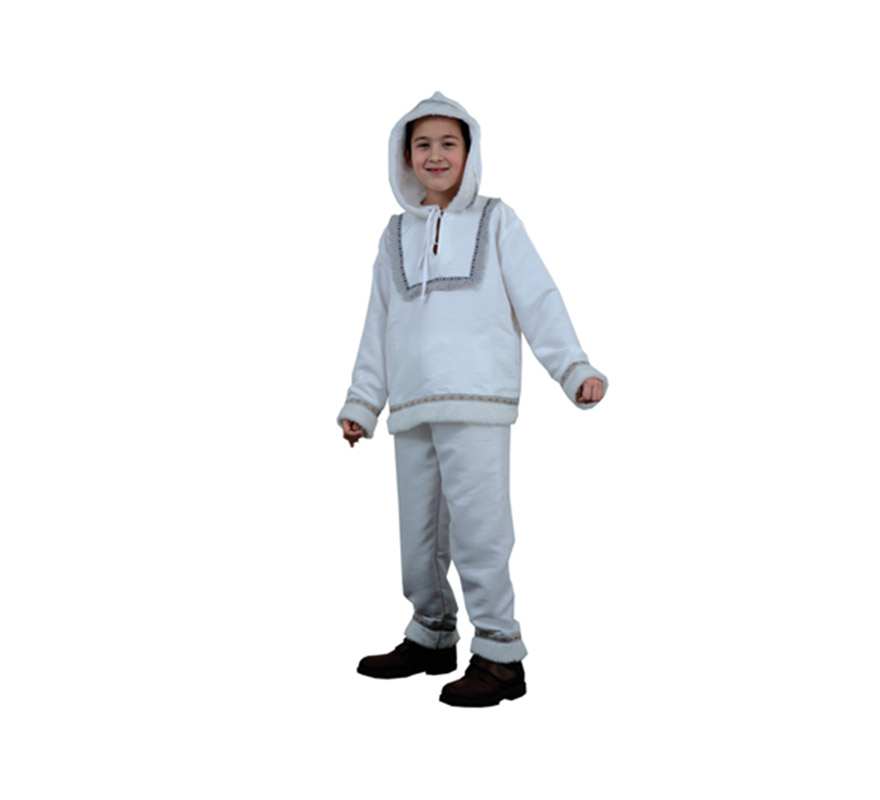 Disfraz de Esquimal niño talla de 7 a 9 años. Incluye casaca con capucha y pantalón.