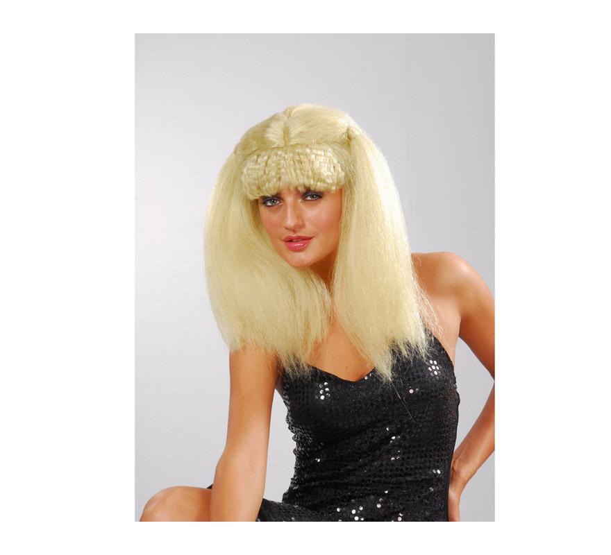 Peluca afro mujer Pop rubia con coletas y flequillo.