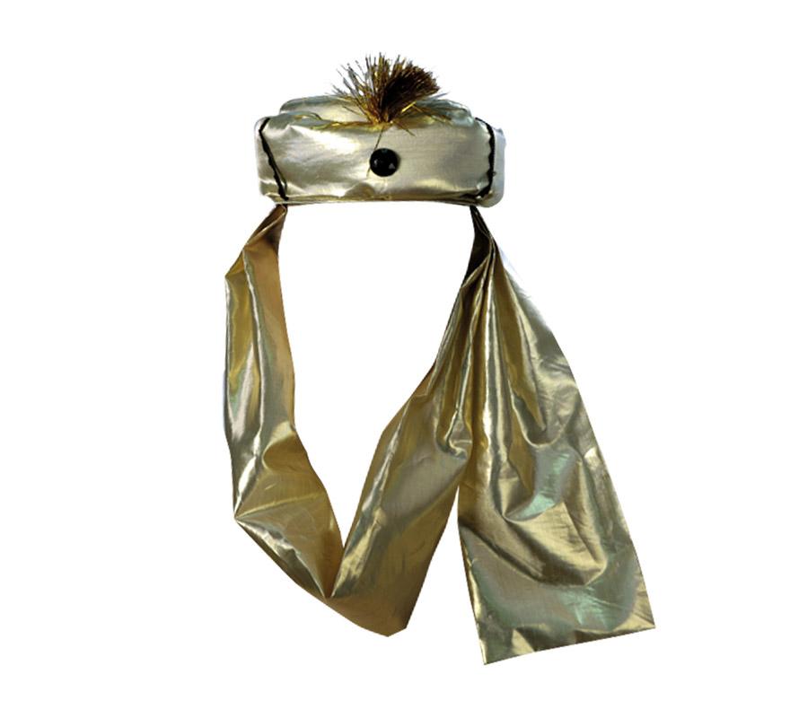 Turbante Real de color dorado para Navidad. Ideal como complemento para trajes de Reyes Magos o Pajes Reales.