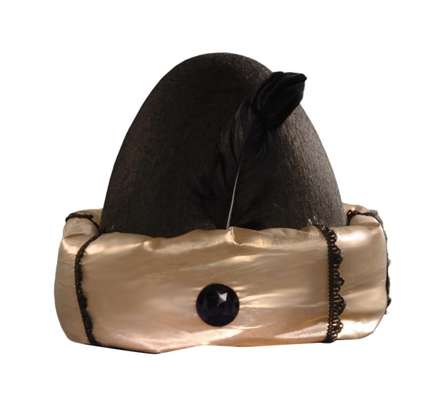 Sombrero Negro con Borde Dorado. Turbante de Paje Real para Navidad. Ideal como complemento de tu traje de Paje Real en Navidad.