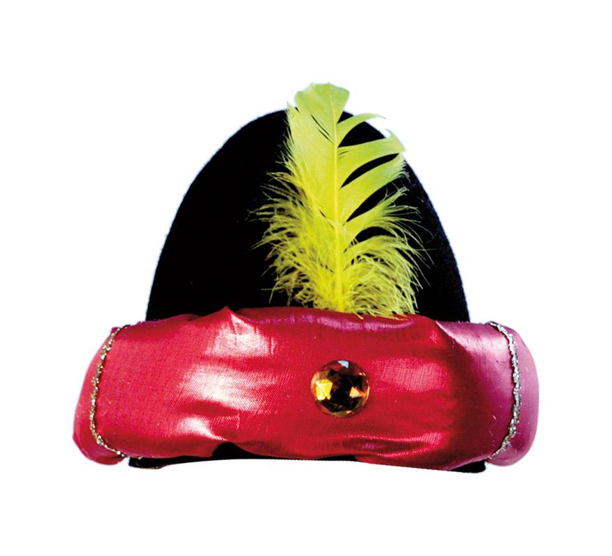 Sombrero de Paje negro con borde rojo y con pluma amarilla. Turbante de Paje Real negro con borde rojo y con pluma amarilla para Navidad. Ideal como complemento de tu traje de Paje Real en Navidad. ¡¡Compra los complementos de tus disfraces en nuestra tiendadedisfraces, será divertido!!