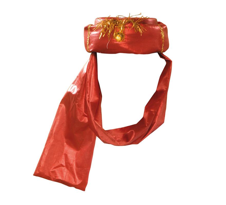 Turbante Real de color rojo para Navidad. Ideal como complemento para trajes de Reyes Magos o Pajes Reales.