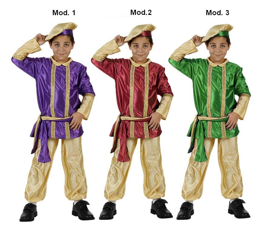 Disfraz de Paje Real de los Reyes Magos infantil para Navidad. Talla de 3 a 4 años. Incluye pantalón, fajín, casaca y gorro. Tres modelos surtidos, precio por unidad, se venden por separado.
