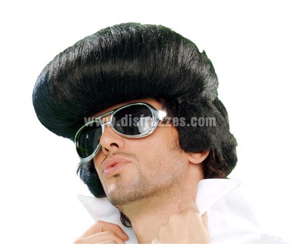 Peluca Rey del Rock adulto para Carnavales. Peluca de Elvis. Peluca con tupé.