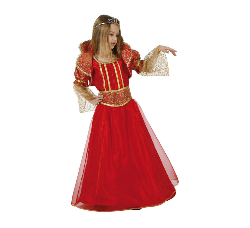 Disfraz de Reina rojo para niñas de 10 a 12 años. Incluye vestido. Precioso traje que podría servir perfectamente para disfrazarse de la Bella y la Bestia o también de Reina Medieval.