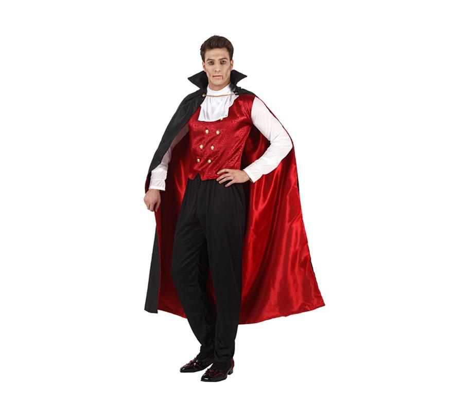 Disfraz de Vampiro o Drácula adulto para Halloween. Talla 2 ó talla standar M-L = 52/54. Incluye pantalón, camisa, capa con cuello.