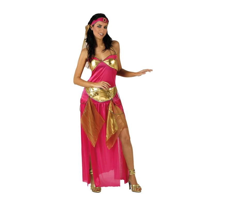Disfraz de Bailarina Árabe para mujer. Talla 2 ó talla M-L 38/42. Incluye vestido y tocado con velo.