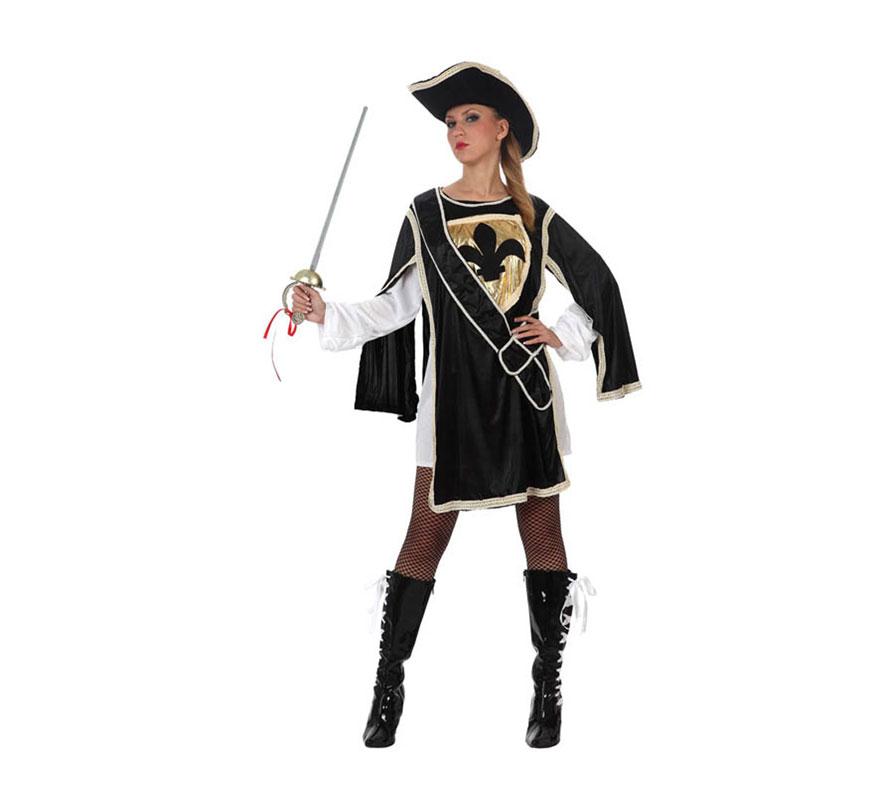Disfraz de Mosquetera Negra para mujer. Talla 2 ó talla Standar M-L 38/42. Incluye vestido y sombrero. Espada o Florete NO incluido, podrás ver algunos modelos en la sección de Complementos.