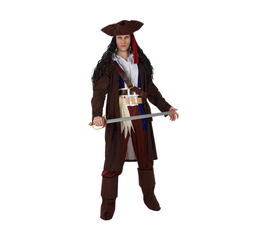 Disfraz de Pirata del Caribe para hombre. Talla 2 ó talla standar M-L = 52/54. Incluye sombrero, camisa, chaqueta, pantalón, cinturón y cubrebotas. Espada y peluca NO incluidas, podrás encontrarlos en nuestra sección de Complementos.