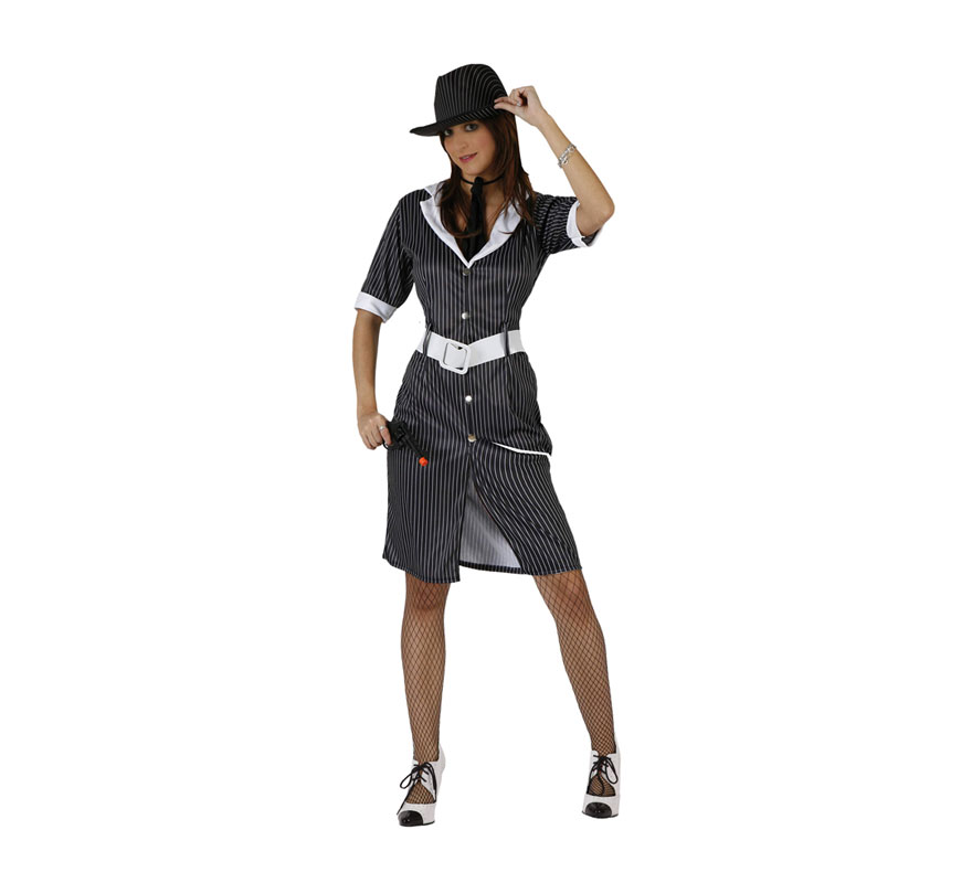 Disfraz barato de Ganster Mafiosa para mujer. Talla 2 ó talla standar M-L = 38/42. Incluye vestido, cinturón y corbata. Sombrero NO incluido, podrás ver sombreros en la sección de Complementos - Sombreros.