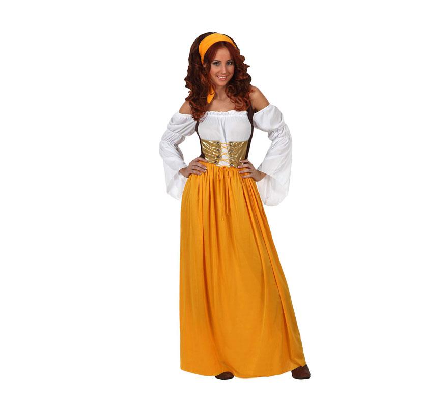 Disfraz de Sirvienta Medieval para mujer. Talla 2 ó talla Standar M-L 38/42. Incluye vestido y cinta del pelo.