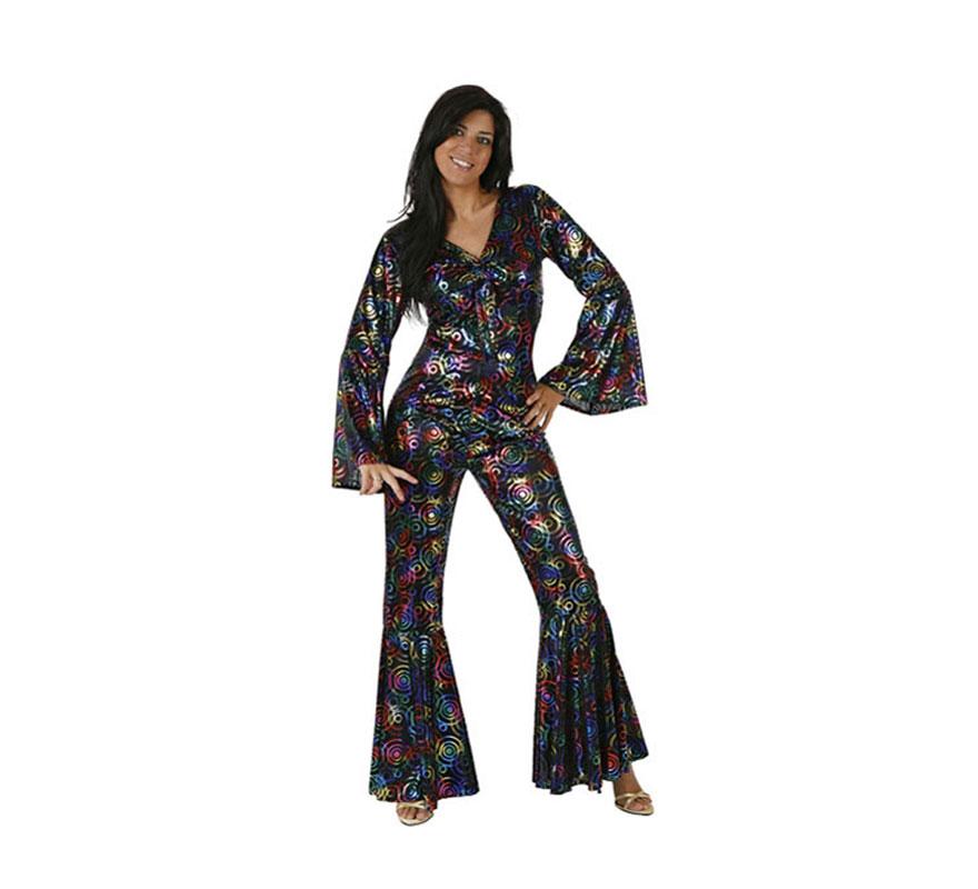 Disfraz de Chica de la Disco para mujer. Talla XL = 54/58. Incluye mono. Perfecto como compañera del Rey de la Disco.